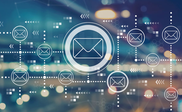 Emails with blurred city abstract lights background
