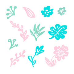 Set of vector isolated flat floral elements on white background. Summer scandinavian hand drawn natural leaves and flowers. Illustration wedding design