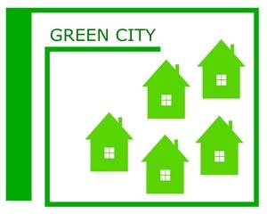 Vector drawing of a green city logo.