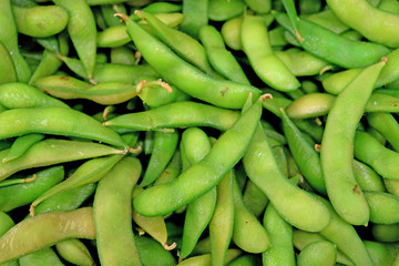 Top View of Heap of Fresh Green Soybean or Edamame selling in the Market