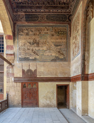 Terrace at ottoman historic  Beit El Set Waseela building (Waseela Hanem House), Old Cairo, Egypt