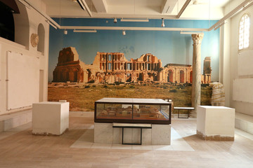 A picture of the the ancient ruins is seen on the wall at Libya's Red Castle Museum, in Tripoli