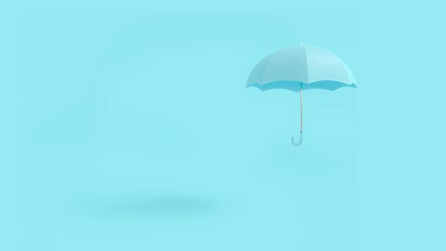 Floating blue umbrella minimal