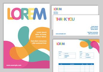 Branded Stationery Set with Multicolored Abstract Designs