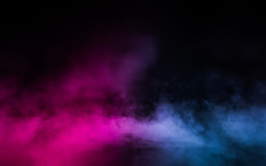 Empty scene  with glowing pink and blue smoke environment atmosphere on floor.  Fashion vibrant colors spectrum background. 3d rendering.