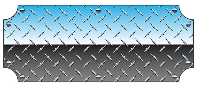 Brilliant Chrome Diamond Plate Metal Sign Background Vector Illustration