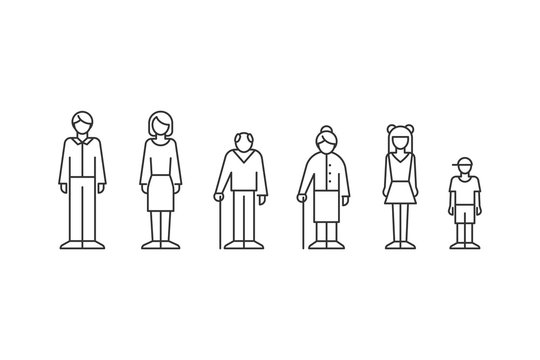 Family, people of different ages outline style