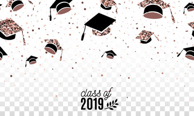 Graduate class off 2019 banner with rose gold hats thrown up on the air on checkered transparent background. Festive vector illustration with confetti. Seamless border on horizontal. Isolated