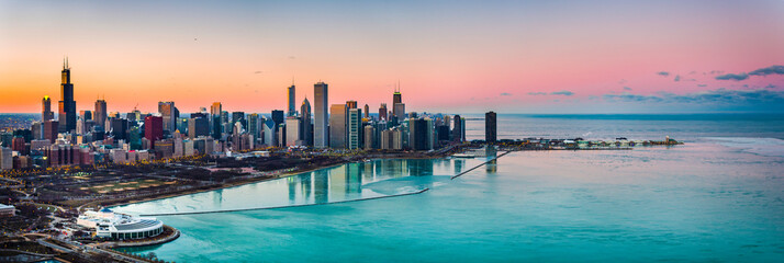 Foto op Aluminium Chicago Beautiful Sunsets behind Chicago
