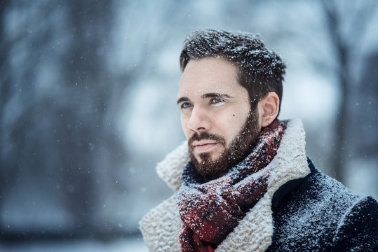 Winter Man in Snow Serious