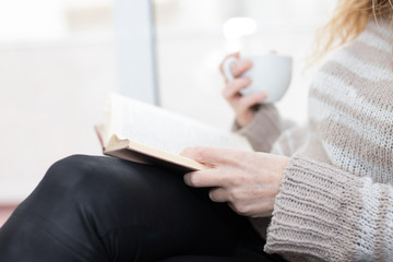 adult woman hands with book, reading