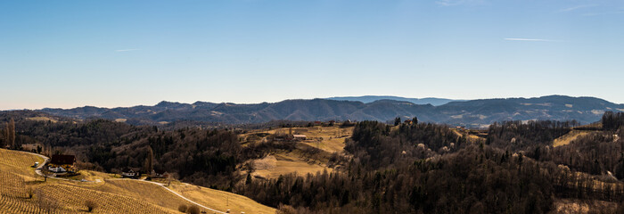 Panorama of Vineyards. Kastenburg south Styria travel spot