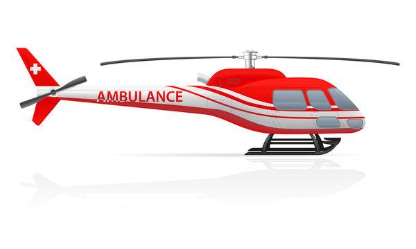ambulance helicopter vector illustration