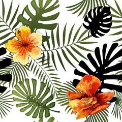 Vector seamless tropical pattern modern bright summer print design