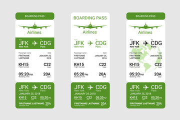 Three different green boarding pass isolated on a gray background. Vector illustration.