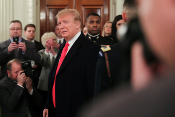 U.S. President Trump arrives to welcome the FCS football champion North Dakota State Bison White House reception in Washington