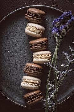 Chocolate and Vanilla Macarons