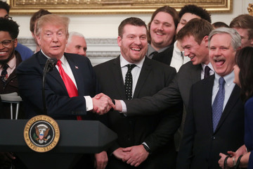 U.S. President Trump welcomes the FCS football champion North Dakota State Bison to a reception in the State Dining Room at the White House in Washington