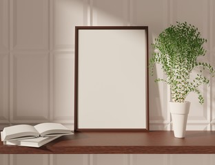 Mockup template with frame on a table. 3D rendering.