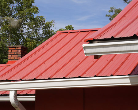 Red metal house roof