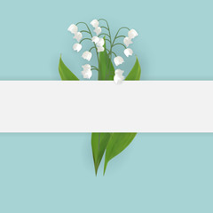 Colorful naturalistic blooming lily of the valley backgroud. Vector Illustration