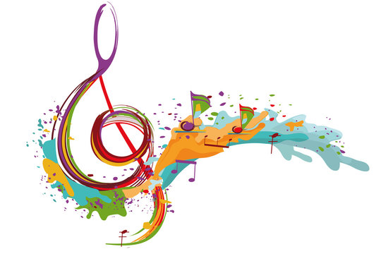 Abstract musical design with a treble clef and colorful splashes and waves. Hand drawn vector illustration.