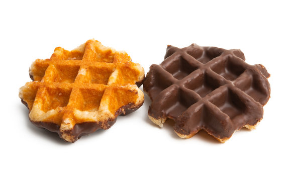 chocolate waffles isolated