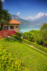 summer panoramic view at Como lake, Bellagio town, Italy