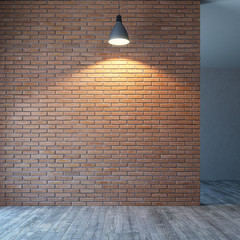 empty room with brick wall and lighting, 3d rendering