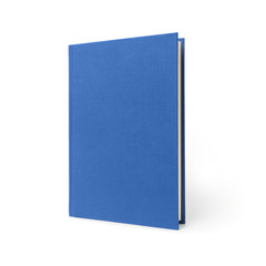 Blue standing hardcover book isolated, perspective view. Cover made of natural linen fabric with uneven rough texture.