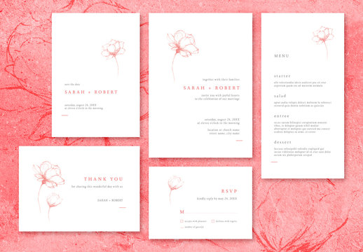 Wedding Stationery Suite Layout with Minimalist Floral Illustrations