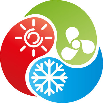 Drei Tropfen mit Sonne, Schneeflocke und Ventilator, Klimaanlage Logo