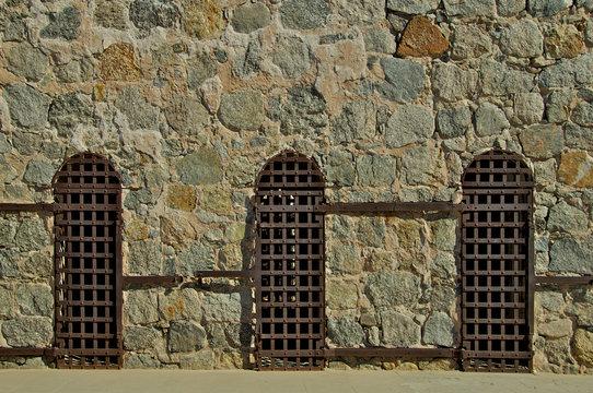 3 Iron doors and rock wall, Yuma Territorial Prison, Yuma, Arizona
