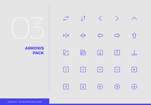 Vector Line Icons Arrows Pack