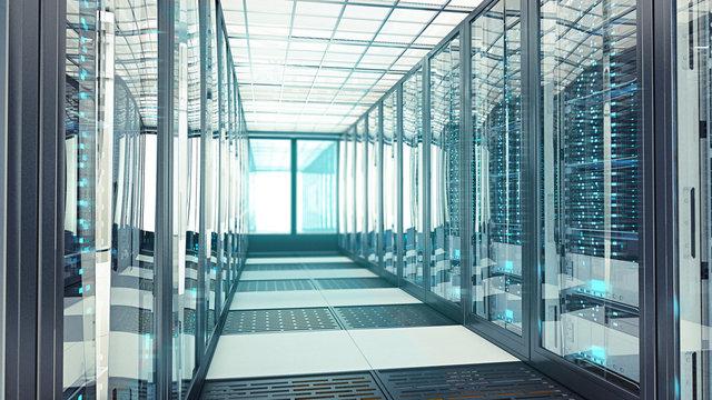 Data Center Server Room Bluelight
