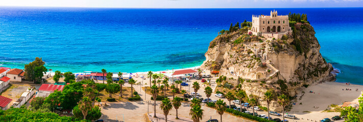 Calabria, Tropea -view of church  Santa Maria del'isola and great beach. Italy