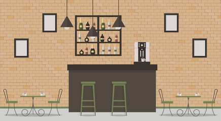 Interior of loft style cafe or bar. Bar counter, tables, different chairs and shelves with alcohol bottles. Coffee-mashine,cup of coffee,hanging lamps and paintings. Vector flat illustration