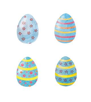 Easter  eggs,  watercolor illustration.