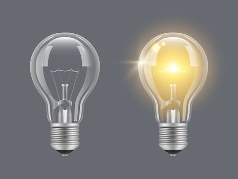 Turn on bulb. Light realistic transparent bulb bright lamp vector pictures. Illustration of lightbulb energy, light and bright