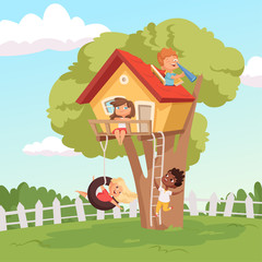 House on tree. Cute children playing in garden nature climbing vector kids background. Illustration of tree house for children, recreation childhood