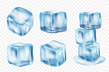 Ice cubes. Freeze water with light reflection and splashes vector realistic ice template. Illustration of ice transparent cube, crystal freeze