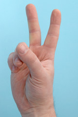 Hand with two fingers up. sigh of peace or victory. Also the sign for the letter V in sign language