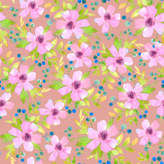 watercolor pattern with pink flowers