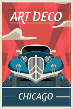 Vector retro poster in art Deco style. Chicago. Retro car on the road. Vintage travel illustration.