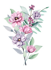 Peonies, watercolor pink and violet flowers bouquet. Floral summer illustration isolated on white background. Hand drawing. Perfectly for wedding, birthday, party and other greeting card design.