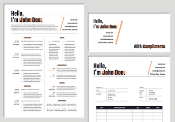 CV Stationery Set with Orange Accents