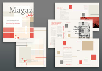 Magazine Layout with Tan, Gray, and Red Accents