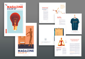 Magazine Layout with Red and Orange Accents