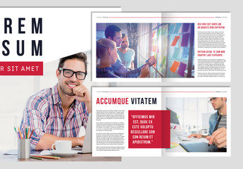 Business Brochure Layout with Red Accents
