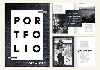 Portfolio Layout with Black Brick Texture